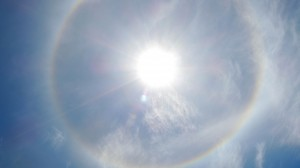 A 22° halo around the sun. An absolutely fascinating phenomenon. God had a lot of ideas when he created nature.